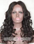 Chantiche Silk Top Glueless Human Hair Lace Front Wigs For Black Women 9.5cm Invisible Middle Deep Parting Natural Looking Long Black Wave Brazilian Remy Human Hair Lace Wig 41cm Natural Colour
