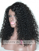 Chantiche Natural Looking Short Curly Silk Base Lace Front Wigs 150% Density 9.5cm Silk Top Invisible Right Deep Parting Brazilian Remy Human Hair Full Wig for African American Women 50cm #1B