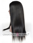 Chantiche Yaki Straight Silk Top Lace Front Wig Natural Looking 9.5cm Invisible Right Deep Parting Silk Base Brazilian Glueless Remy Human Hair Wigs for Black Women 50cm Natural Black #1B