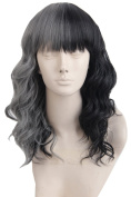 Topcosplay Women's Medium Fluffy Curly Half Black and Grey Natural Hair Halloween Cosplay Costume Fibre Hair Wigs