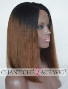 Chantiche Soft Coarse Yaki Ombre Brown Short Bob Wigs 7.6cm Deep Parting Silk Top Human Hair Lace Front Wig With Highlights Glueless African American Women's Replacement Indian Remy Hair Wigs 36cm