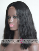 Chantiche Short Bob Silk Top Human Hair Lace Front Wig with 7.6cm Middle Deep Parting Affordable Natural Wave Indian Remy Glueless Full Wigs For Black Women 36cm #1B