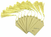 Makhry Pack of 100 Gift Tags Sets Vintage Imported Kraft Paper Bookmarks Paper Gift Tags Wedding Favour Bonbonniere Favour with Handmade Silky Tassels