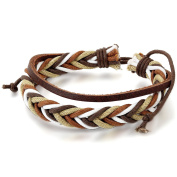 JewelryWe Men Hemp Rope Leather Bracelet Retro Braid Adjustable Cuff Wristband
