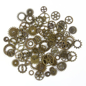 BODYA 20 Gramme Assorted Antique Steampunk Gears Charms Pendant Clock Watch Wheel Gear Crafting Jewellery Making Accessory Bronze