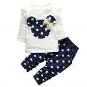 YiZYiF 2PCS Polka Dots Cartoon Baby Girl Clothes Outfit Top Leggings Trousers Set