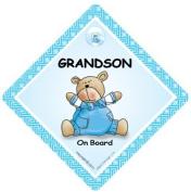 Grandson on Board, Grandson On Board Sign,Blue Quilt, Car Sign, Baby on Board Sign, baby on board, Baby Car Sign, Baby Safety Sign, Baby in Car Sign, Maternity Car Sign, Paternity Car Sign