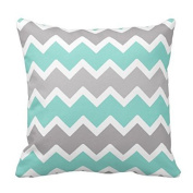 Chevron Pattern - Aqua Blue,White and Grey Zig Zag Pattern Throw Pillow Classic Stripes Pattern For Decoration Pillow Case Zipper Pillow Cover Brief Design Pillowcase Cover