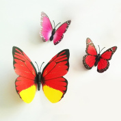 12 Pieces 3D Butterfly Stickers Fashion Design DIY Wall Decoration House Decoration Babyroom Decoration, Red