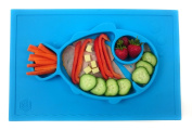 Smiley Fish Placemat by Hexnub, One Piece Silicone Suction Placemat + Plate - for Kids, Toddlers and Babies.