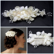 Miya 1 Piece Mega Glamour Handmade Hair Comb with Soft Lace Tulle Fabric Flowers Ivory White, Pearl and Crystal Hair Comb – Bridal Wedding Jewellery Bridal Hair Accessory