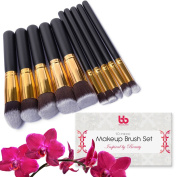 Beauty Bon Professional Makeup Brushes, 10 Piece Set, Vegan, With Plastic Handles, Great For Applying Concealers, Foundations, & Powders