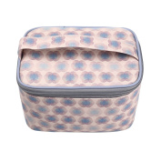 TaylorHe Waterproof Large Make-up Bag Cosmetic Case Toiletry Bag Vanity Case with Patterns zipped with Handle Grey Blue Flowers