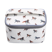TaylorHe Waterproof Large Make-up Bag Cosmetic Case Toiletry Bag Vanity Case with Patterns zipped with Handle Horses