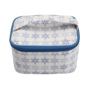 TaylorHe Waterproof Large Make-up Bag Cosmetic Case Toiletry Bag Vanity Case with Patterns zipped with Handle Blue Flowers
