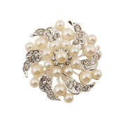 Hysagtek Cream Faux Pearl & Diamante Rhinestone Pearl Sparkly Leaf & Flower Brooch Wedding Vintage Flower Bouquet Cake Decoration