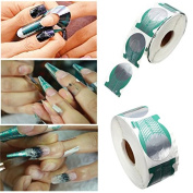 Hrph 500pcs/roll Nails Extension Form Green Horseshoe Shape Nail Art Tip Roll Acrylic DIY Tools Curve Gel Guide Stickers