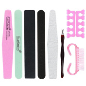 VANKER 8Pcs Professional Woman Manicure Pedicure Kit Nail Art File Buffer Polish Sanding Supply