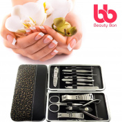 Beauty Bon Manicure, Pedicure Kit, Personal Nail Clippers Set Of 12, Stainless Steel Manicure Tools Kit With Portable Travel Case, All In One Beauty Care Tools medium Gold, Silver, Grey, Black
