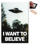 Bundle - 2 Items - I Want To Believe X-Files UFO Poster - 91.5 x 61cms (36 x 24 Inches) and a Set of 4 Repositionable Adhesive Pads For Easy Wall Fixing
