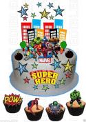Edible SUPERHERO Hulk Spiderman Iron man WAFER Card SCENE Birthday Cake Cupcake Topper