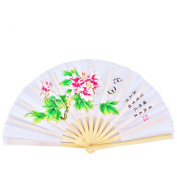 OPACC 36cm Bamboo Chinese Fan Tai Chi Kung Fu Folding Fan With Paeonia Suffruticosa