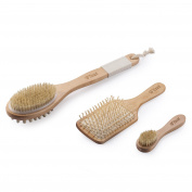 100% Natural Boar Bristles Flend Bath and Shower Brush with Dual Head (Skin Brushing + Cellulite Massage)+Facial Complexion Brush+Detangling Hair Brush, Complete Wooden Brush Set in Gift Box