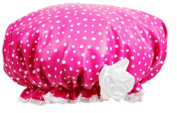 Bella Il Fiore Pink and White Polka Dot Shower Cap