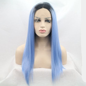kylie Jenner synthetic lace front wig with heat resistant fibre for women blue dark root silky straight long hair