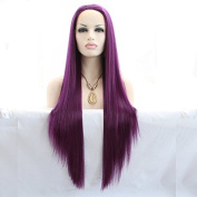 kylie Jenner synthetic lace front wig with heat resistant fibre for women purple straight long hair