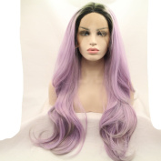 kylie Jenner piano colour purple grey drag queen synthetic lace front wig with heat resistant fibre for women dark root body wave long hair