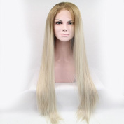 Kylie Jenner Heat Resistant Fibre Hair mermaid dark root ombre Synthetic lace front wig for women.