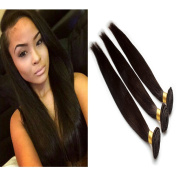 6A Brazilian Remy Human Hair Extension Straight Human Hair, Mixed Length(41cm 46cm 50cm ), 50g/Bundle, Natural Colour