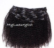 8 Pieces 100 Grammes Kinky Curly Afro Clip in Human Hair Extensions Virgin Remy #1b Coils 46cm