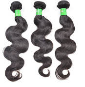 Wendy Hair Brazilian Body Wave Unprocessed Human Hair Extensions, Pack of Three, Black, 16 18 20