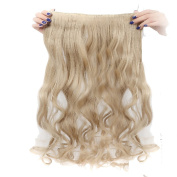 Real Fibre Hairpieces 60cm Wavy Curly Ash Blonde Hairpiece 3/4 Full Head One Piece 5 Clips Clip In Hair Extension Extensions