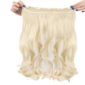 Real Fibre Hairpieces 60cm Wavy Curly Bleach Blonde Hairpiece 3/4 Full Head One Piece 5 Clips Clip In Hair Extension Extensions
