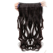 Real Fibre Hairpieces 60cm Wavy Curly Dark Brown Hairpiece 3/4 Full Head One Piece 5 Clips Clip In Hair Extension Extensions