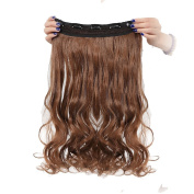 Real Fibre Hairpieces 60cm Wavy Curly Light Brown Hairpiece 3/4 Full Head One Piece 5 Clips Clip In Hair Extension Extensions