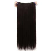 Real Soft Hair 70cm Straight Dark Brown Hairpiece 3/4 Full Head One Piece 5 Clips Clip In Hair Extension Extensions
