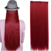 Real Soft Hair 70cm Straight Dark Red Hairpiece 3/4 Full Head One Piece 5 Clips Clip In Hair Extension Extensions