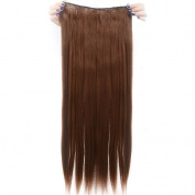 Real Soft Hair 70cm Straight Light Brown Hairpiece 3/4 Full Head One Piece 5 Clips Clip In Hair Extension Extensions