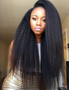 Brazilian Remy Human Hair Kinky Straight,Kinky Curly Human Hair Weave Extensions -6A Natural Black,95-100g/bundle
