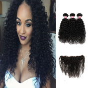 HC Hair 7a Unprocessed Brazilian Virgin Human Hair Extensions Kinky Curly weave 3 Mix Length Hair Bundles with Lace Frontal Closure(13*4)