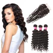 BHF HAIR Deep Wave Brazilian Hair 3 Bundles with Lace Closure(4x4£©8a Grade Virgin Human Hair Weave Natural Black Extensions 12 14 16+10