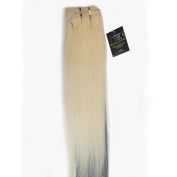 Women 38cm ~80cm Remy Clips in Human Hair Extensions Straight Hair 70g/100g/140g Platinum Blonde #60