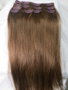 Women 38cm ~80cm Remy Clips in Human Hair Extensions Straight Hair 70g/100g/140g Light Brown #8