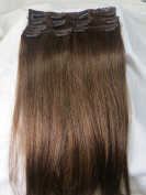 Women 38cm ~80cm Remy Clips in Human Hair Extensions Straight Hair 70g/100g/140g Medium Brown #6