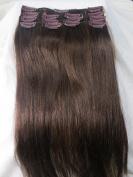 Women 38cm ~90cm Remy Clips in Human Hair Extensions Straight Hair 70g/100g/140g Dark Brown #4