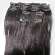 Women 38cm ~90cm Remy Clips in Human Hair Extensions Straight Hair 70g/100g/140g Darkest Brown #2